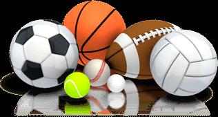 Bolas e instrumentos usados em diversos esportes.