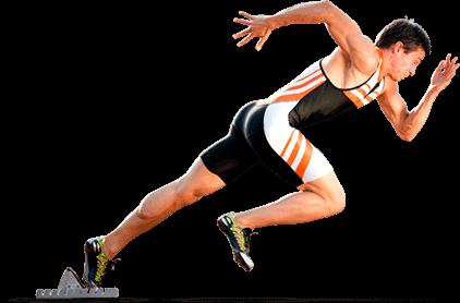 Homem correndo à direita trajando uniforme atlético